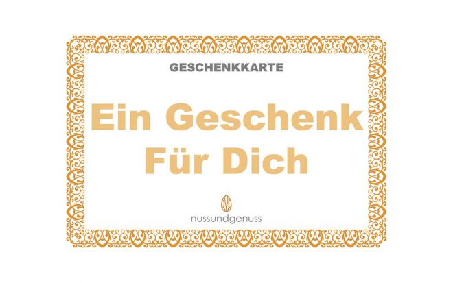 """Geschenkkarte von nussundgenuss """"Ein Geschenk für dich"""""""