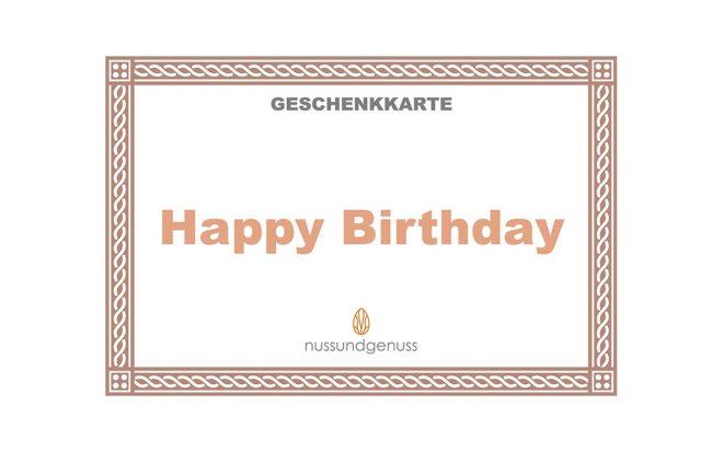 Geschenkkarte Happy Birthday von nussundgenuss