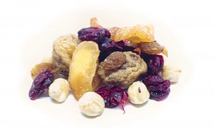 """Trockenfrüchtemischung """"Müsli upgrade das Zweite"""" mit Minifeigen, Sultanas, Cranberries, Apfelstücke mit Zimt und Zucker, und Haselnusskerne"""
