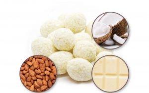 Mandeln in weißer Schokolade mit Kokosflocken